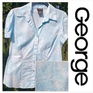 George light blue white Floral large